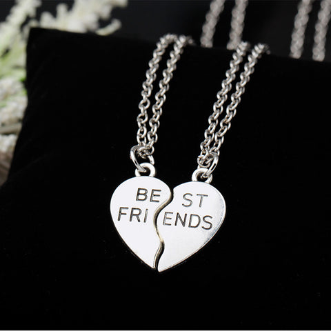 New collier choker necklace heart pendant pieces broken two best friend forever necklace women necklace jewelry collares mujer