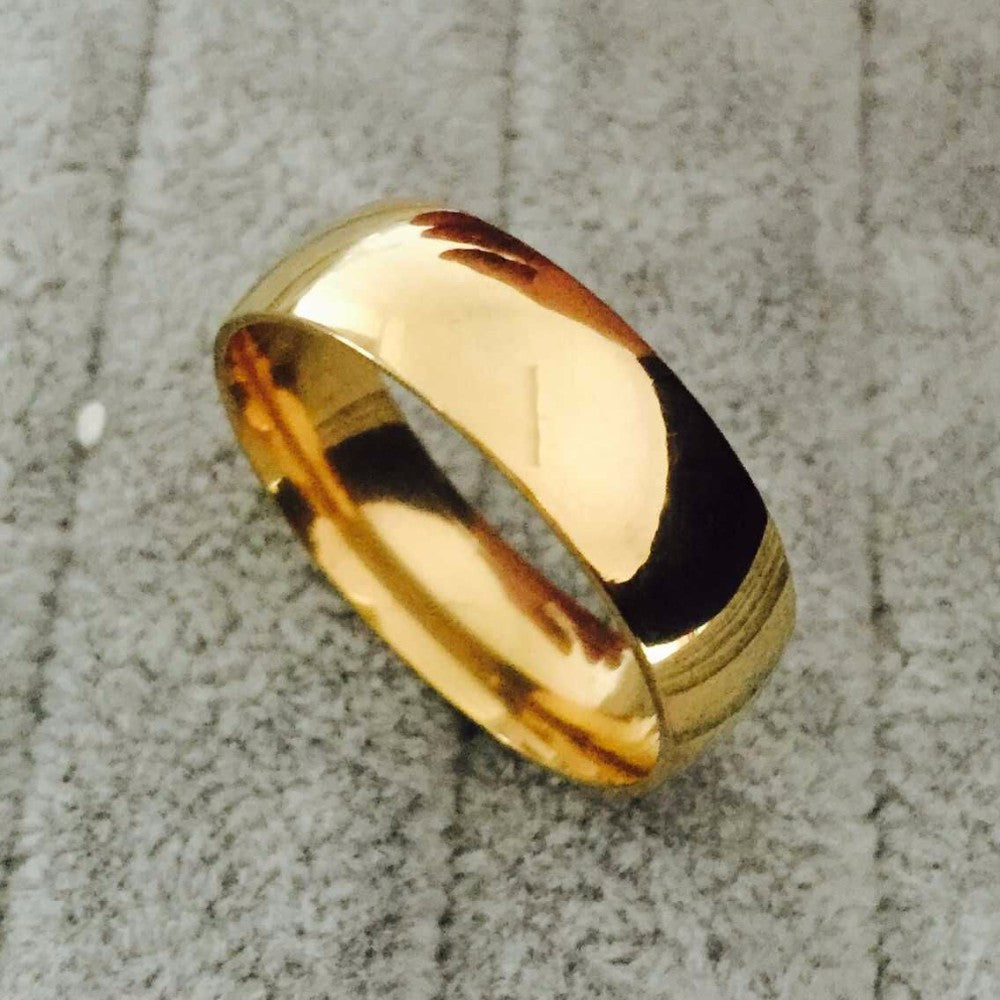 High polish wide 8mm men wedding gold rings Real 22K Gold filled 316L Titanium