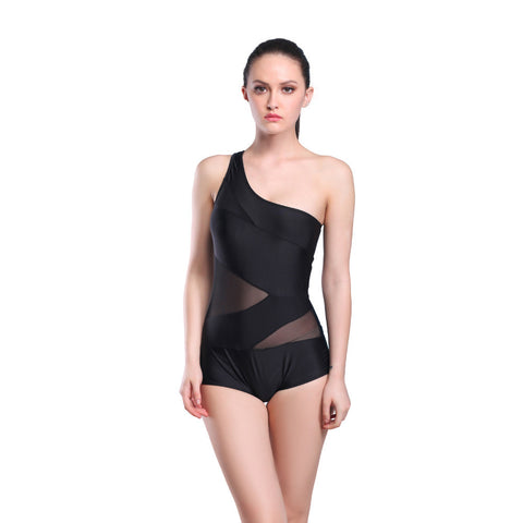 2016 Free Shipping Black Color Women One Piece Swimwear Bathing Suit Plus Size Sexy Sports Suits