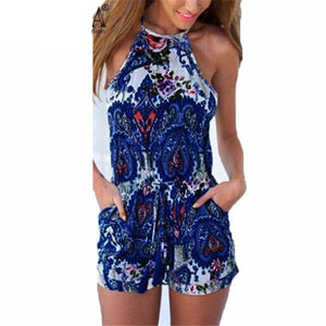 Fashion Rompers 2017 Women Jumpsuit Sexy Halter Neck Sleeveless Tank Playsuits Ladies Casual Beach Playsuits Overalls Bodysuits