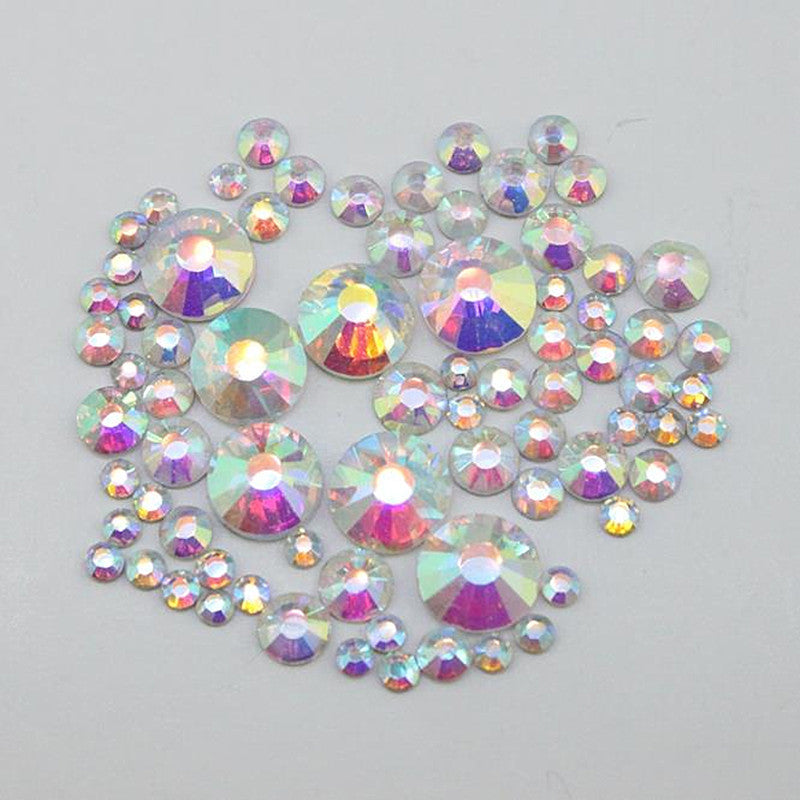 1000PCS Pack Mix Sizes Crystal Clear AB Non Hotfix Flatback Rhinestones  Nail Rhinestoens For Nails a00b9da5545a