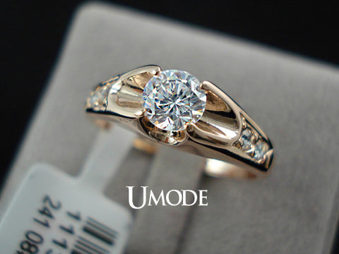 18K Rose Gold Plated Mounting 0.5 ct Zirconia Diamond Engagement - Gifts Leads