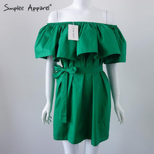 Simplee Apparel Ruffles Slash Neck Women Dress Summer