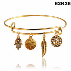 2016 Fine Jewelry Dragonfly Vintage LOVE Heart Bangle Alloy Trendy Anchor Summer Style Leaf  Bangles Best Friends Pendant