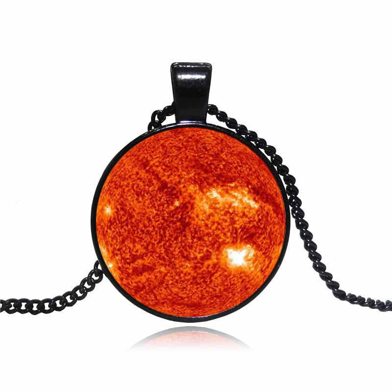 Fashion Galaxy Moon Pendant Necklace Glass Cabochon Vintage Jewelry Black Statement Chain Necklace Women Best Gift