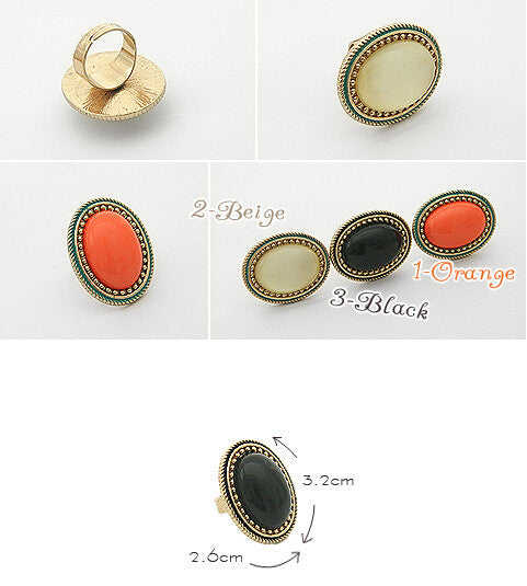 2016 Hot sale New Fashion Jewelry European Style Personalized Fashion Vintage Oval Gem Retro Ring