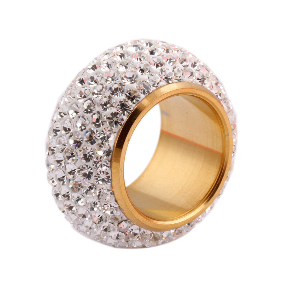 Shining full rhinestone finger ring for woman luxurious paragraph fashion new gold plate