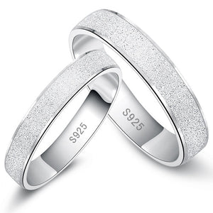 White Gold Plated,Fashion Silver Ring with Frosting Surface,Elegant Silver Couple Ring Style