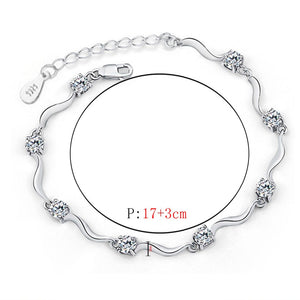 Fashion Crystal Bracelet For Women 2016 Newest Gift In Jewelry Vintage 925 Sterling Silver Bracelet Bangles Fine Jewerlry