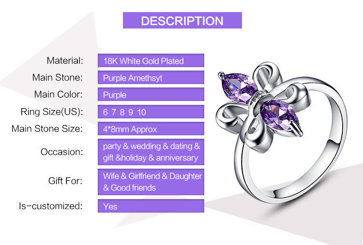 Butterfly Design Women Jewelry  Party Gift Lady Marquise Cut  AAA