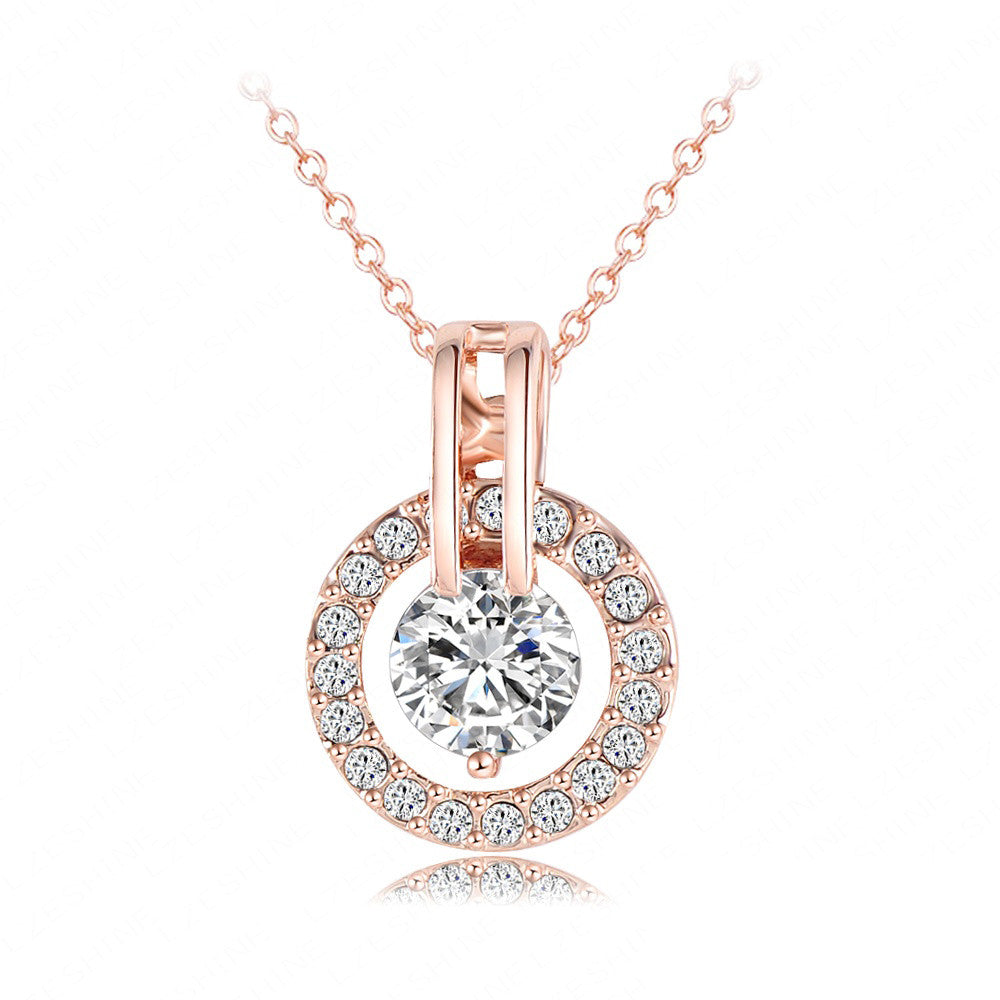 Women Jewelry Classic Necklace Real 18K Rose Gold Plated  Genuine Austrian Crystal Round Pendant Necklace NL0455-A