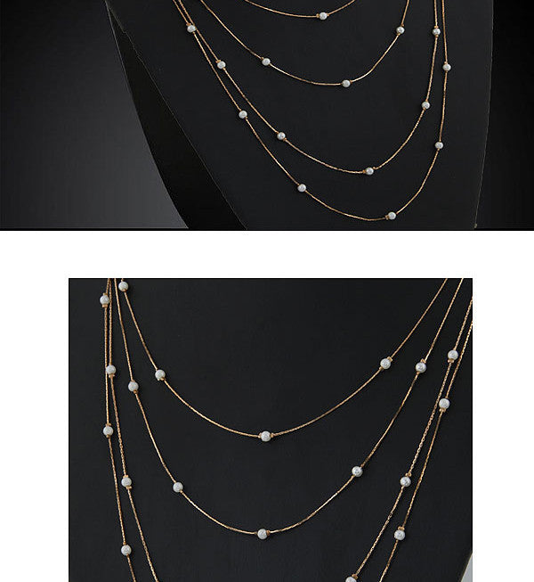 New Hammered Bar Simple Double Chain Charm Pearl Necklace Beads Long Strip Pendant Necklaces Wedding Event Elegant Jewelry