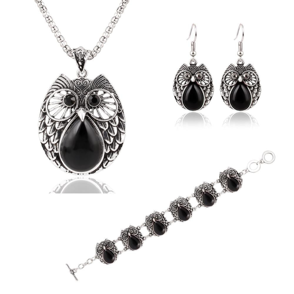 Summer Style Jewelry Sets Plating Silver Vintage Turquoise Pendant Necklace Owl Drop Earrings Charm Bracelet Fashion For women