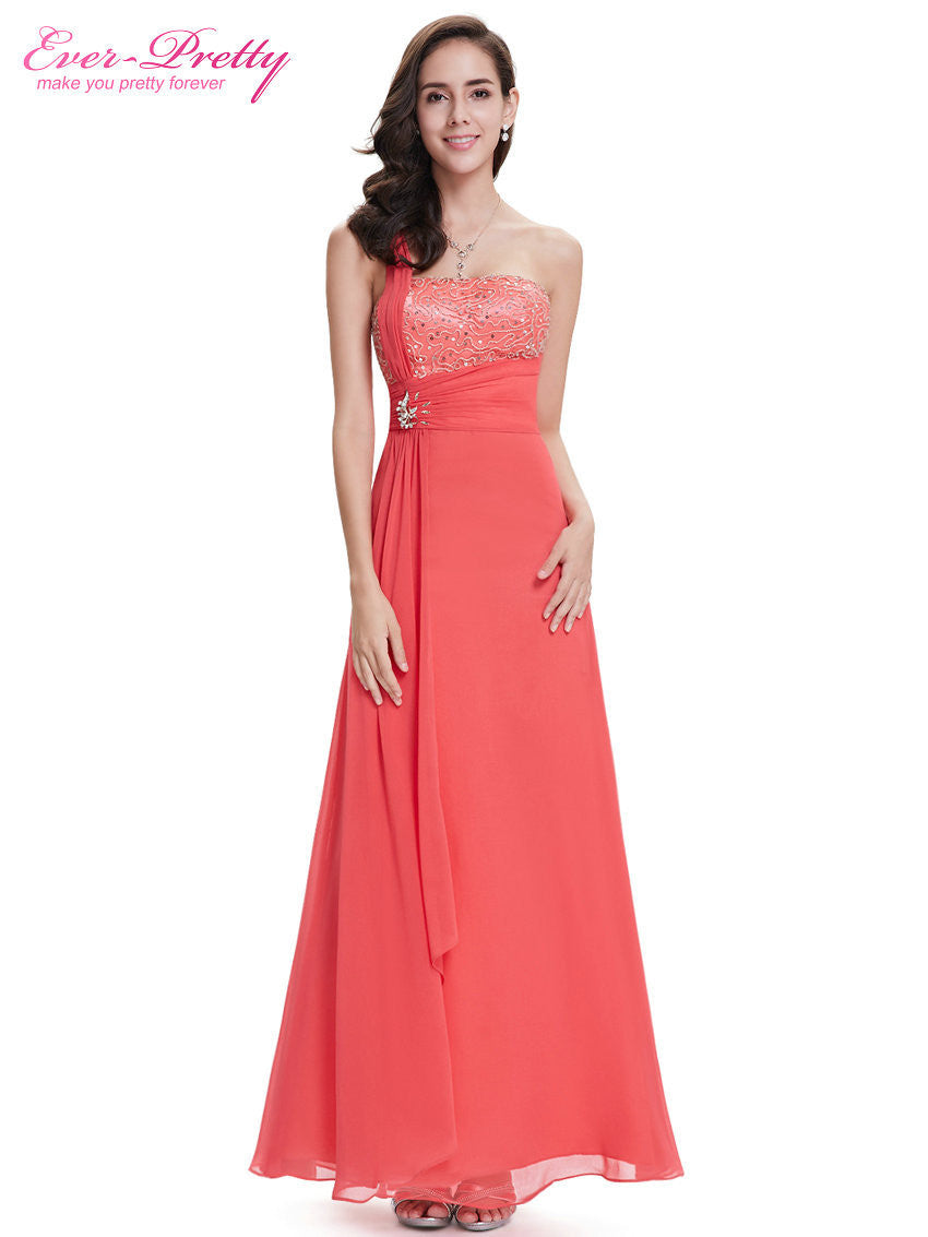 One Shoulder Sequined Bust Watermelon Red Chiffon Party Dress