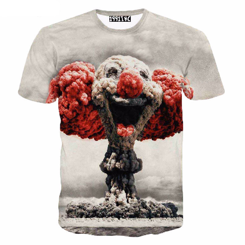 Newest style cute mushroom cloud clown print 3d t shirt men