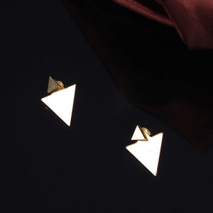 2016 New Summer Style Gold Silver Triangle Stud Earrings For Women Fine Jewelry