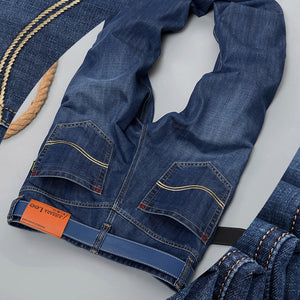 Jeans Men Stripe Jeans Male Casual Straight Denim