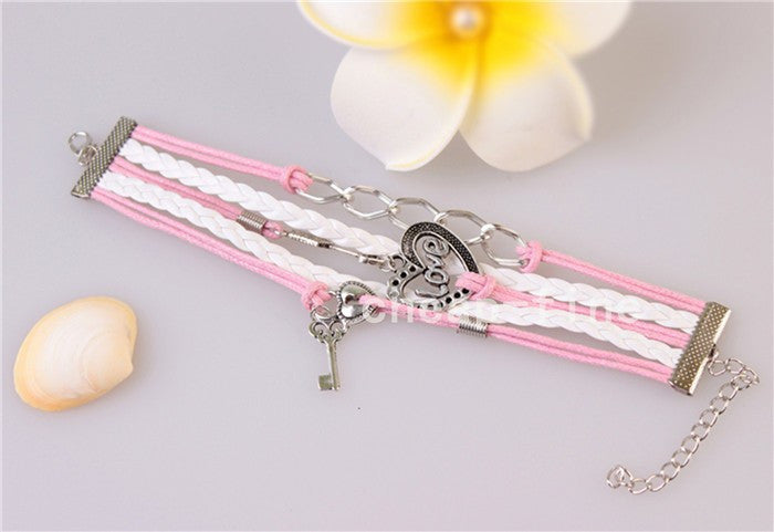 2016 New handmade bracelet  lock+key +Cupid's Arrow Charms Infinity Bracelet white&pink leather Braclet. Best Couple Gift