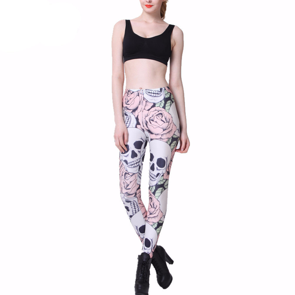 2016Fashion ROSE & SKULL Printed Female Fitness