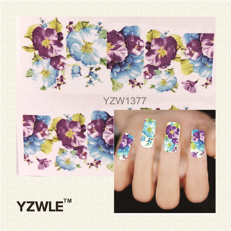1 Sheet DIY Water Transfer Nail Decals, Purple Flower Designs Watermark Nail Art Stickers Tattoos Decorations Tools - Gifts Leads