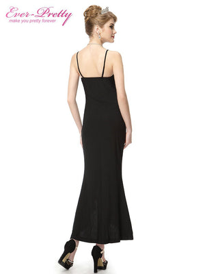 Ever Pretty Sexy Formal Gown Black Dress with Mesh and Flower Long Evening Dress 2016