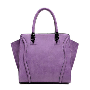 2016 New Spring Women Handbags With Fur Ball Luxury PU Leather Tote Good Quality Women Bag Purple Trapeze Women Messenger Bags