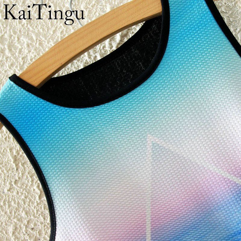 2016 Brand New Fashion Women Sleeveless Sky Print Crop Top Cropped Tops Casual Sport Top Fitness Women Vest Tank Tops