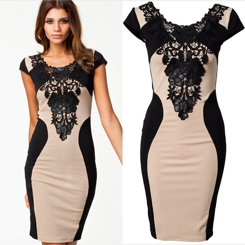 Women Floral Lace Short Sleeve Evening Party Casual Dress