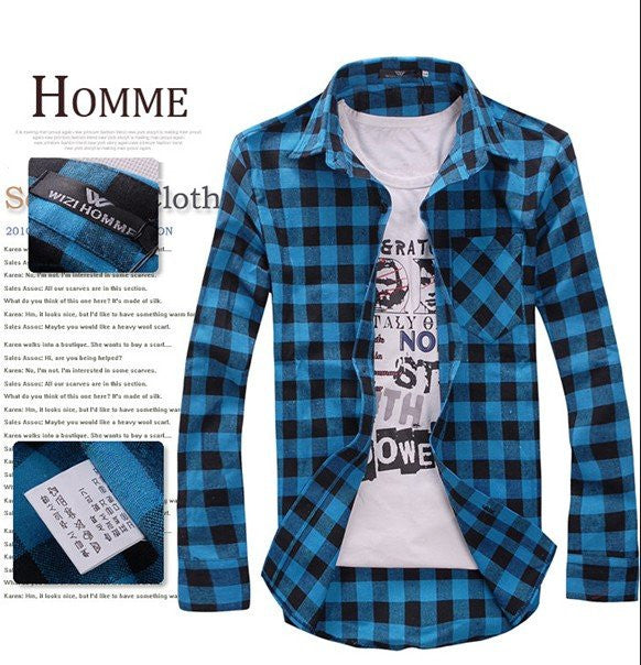 MENS VINTAGE PLAID CHECK LONG SLEEVE SHIRT