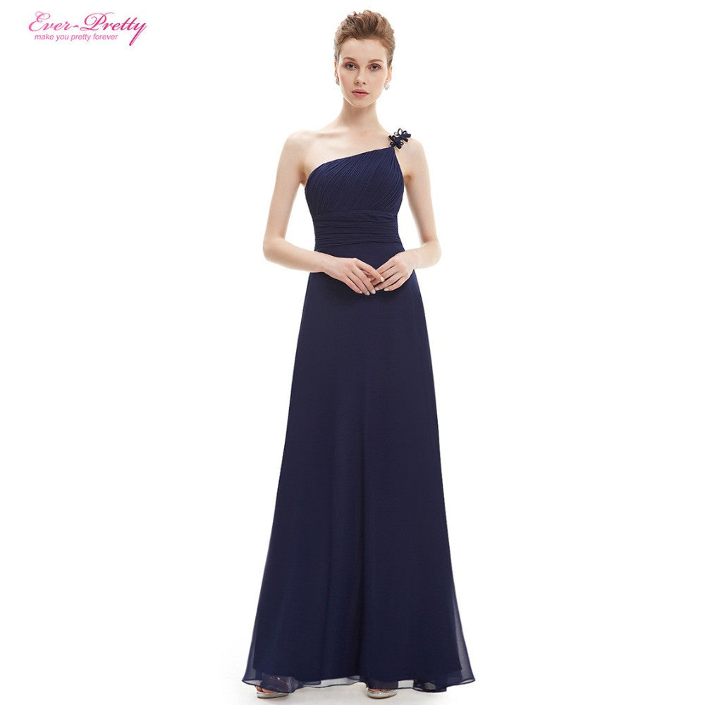 One Shoulder Sapphire Blue Flower Ruffles Chiffon NWT Evening Dress