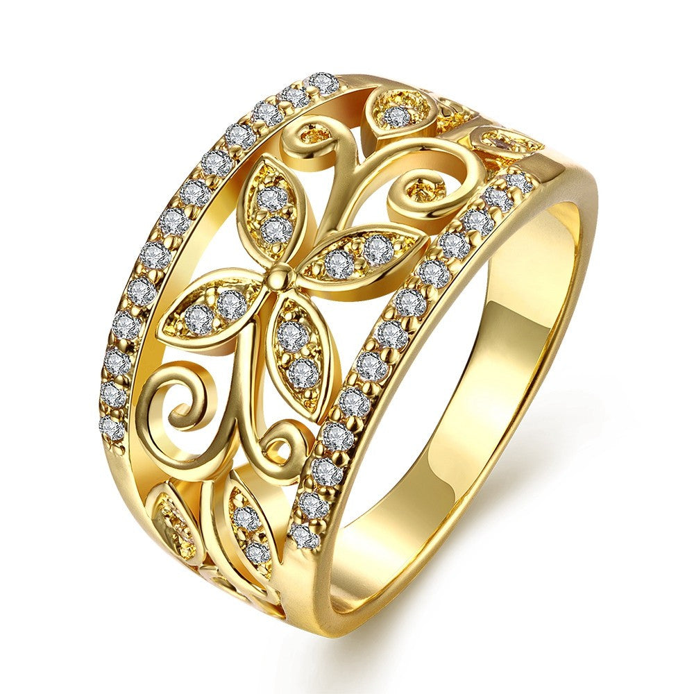 Rose Gold Plated Ring For Women  plant Shape Size 7&8 Female Gold Ring