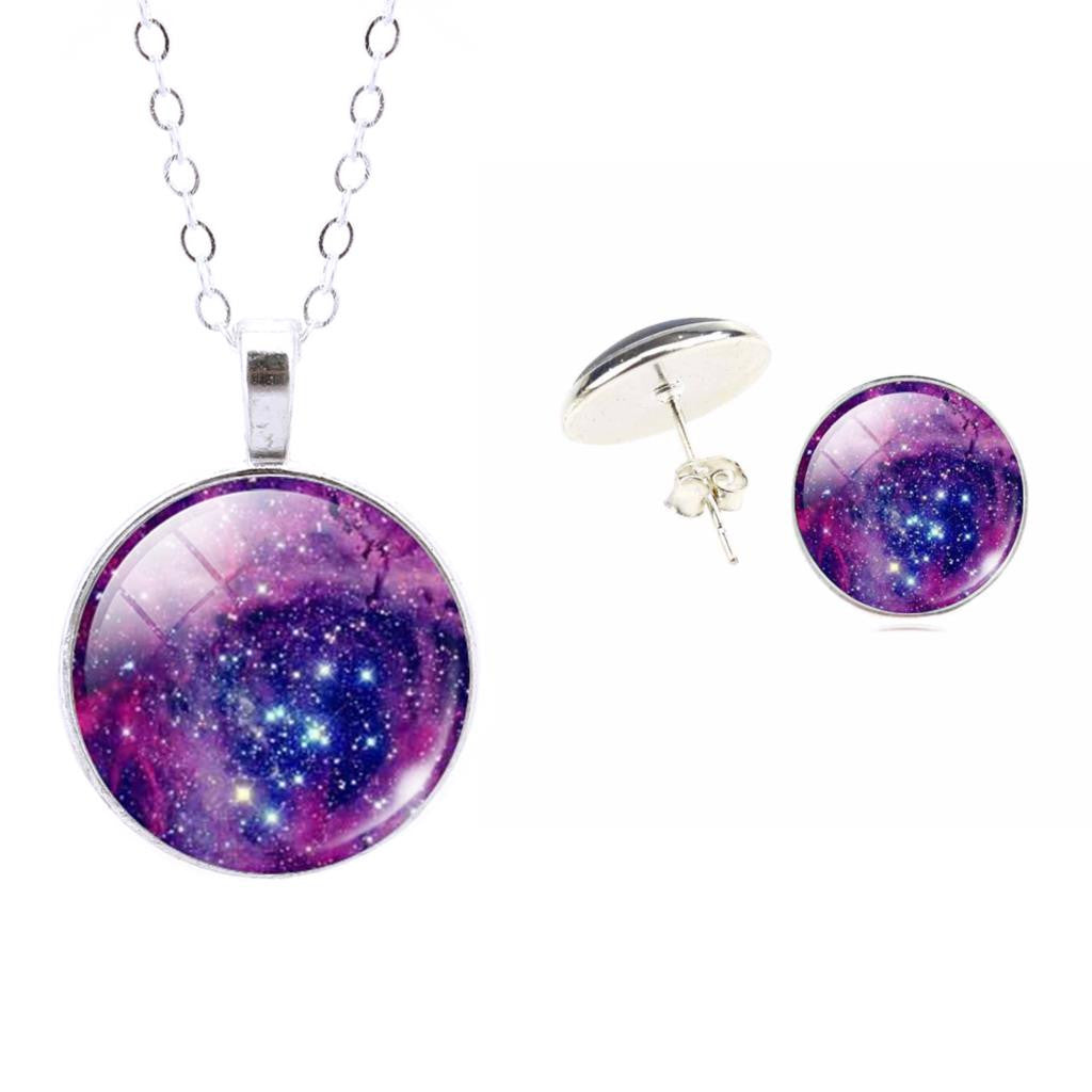 Fine Jewelry Sterling Silver Jewelry Set Star Galaxy Nebula Picture Pendant Necklace Stud Earrings Set For Women Accessories