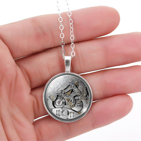 Summer Style Sterling Silver Necklace Stud Earrings Jewelry Set Steam Punk Gear Glass Cabochon Pendant Necklace For Women