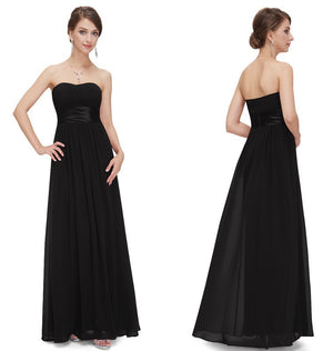 2016 New Arrival Concise and Easy Strapless Ruched Bust Black Chiffon Long Evening Dress