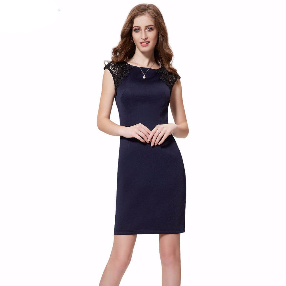 Free Shipping New Fashion Sapphire Blue Stylish Cap Sleeve Short Cocktail Party Dress