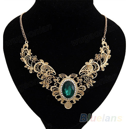 Luxury New Women's Lady Gold Plated Crystal Hollow Out Flower Pattern Choker Bib Necklace Red Green Hot Selling