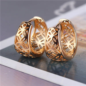 New Fashion 18K Yellow Gold Plated Vintage Hollow Fancy Hoop Earrings