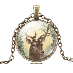 Cute Deer Pendant Necklace Christmasgift Art Picture  Glass Cabochon Necklace Silver Antique Bronze Chain Necklace