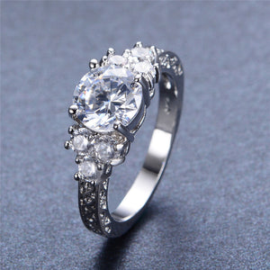 Splendent White Sapphire Stylish Jewelry Women/Men Wedding Ring Anel Aneis White Gold Filled Engagement Rings