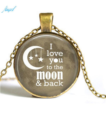 Hot Selling Mom's Gifts Fashion New Charms Jewelry  I Love You to the Moon and Back Necklace Heart Mom Daughter Silver Gold Tone