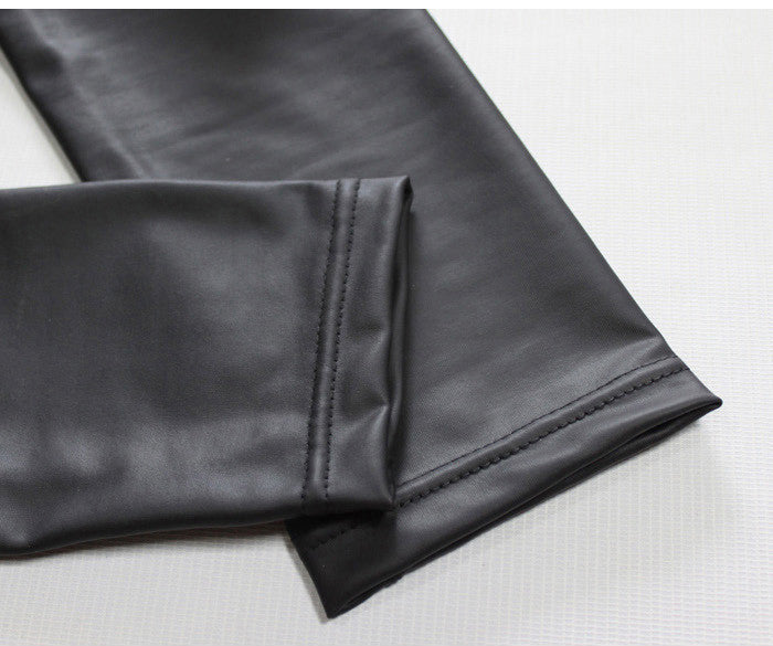 High Quality Full Length Classic High Waist Elastic Flat Leather
