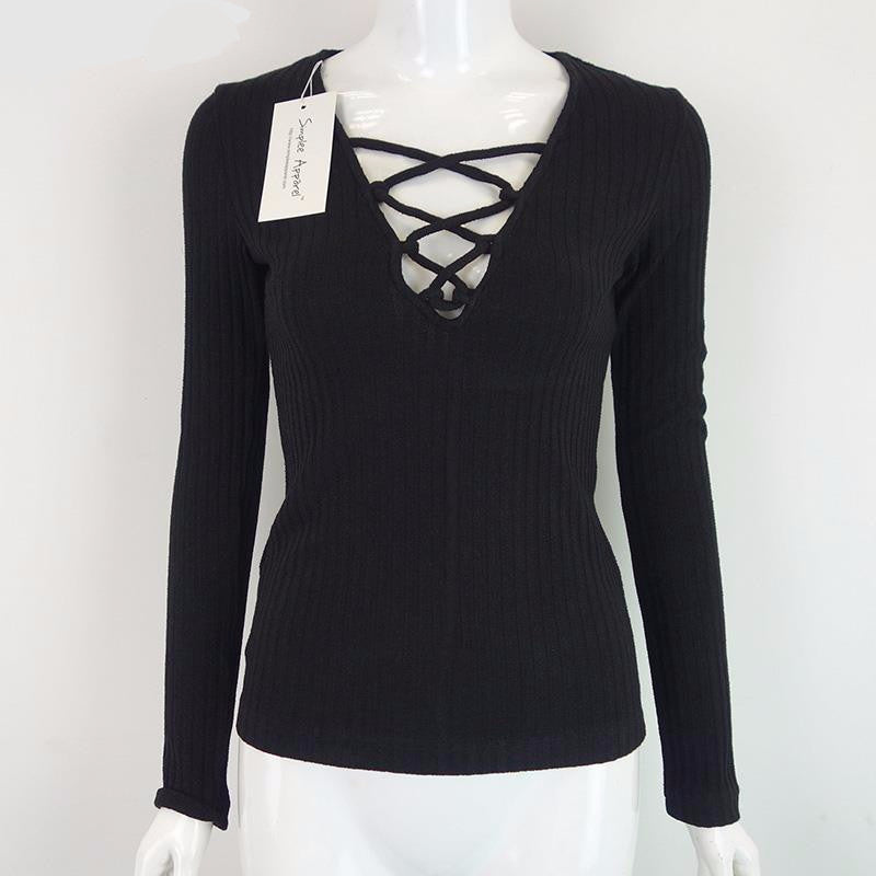 Simplee Apparel Charcoal Sexy V-Neck Autumn knitted