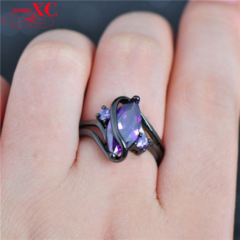 Fine Jewelry High Quality Purple Amethyst RingsAAA Zircon 14KT Black Gold Filled Ring For Women&Lady's Size 6/7/8/9/10 R6F2777