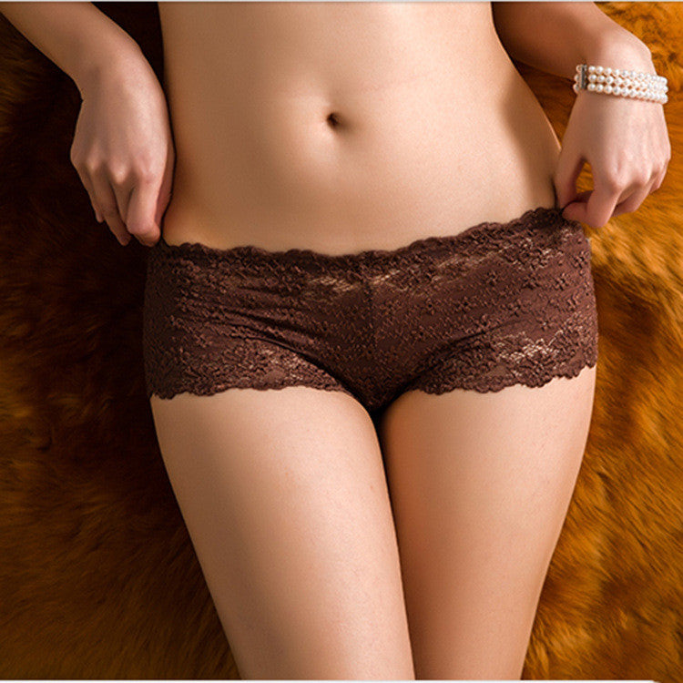 Women sexy transparent full lace panties water soluble trunk