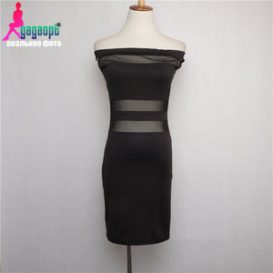 2016 Fashion hot-selling Gagaopt slit neckline stripe of perspectivity slim hip skirt fashion one-piece dress