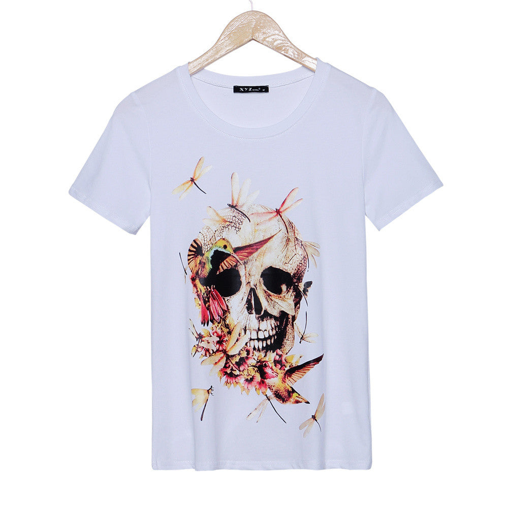 2016 fashion brand t shirt women dragonfly & skulls printed t-shirt short sleeve fitness rock punk tees women woman tops - Gifts Leads