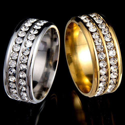 Womens Mens Fashion Double Rows Rhinestones Titanium Steel Wedding Jewelry Ring
