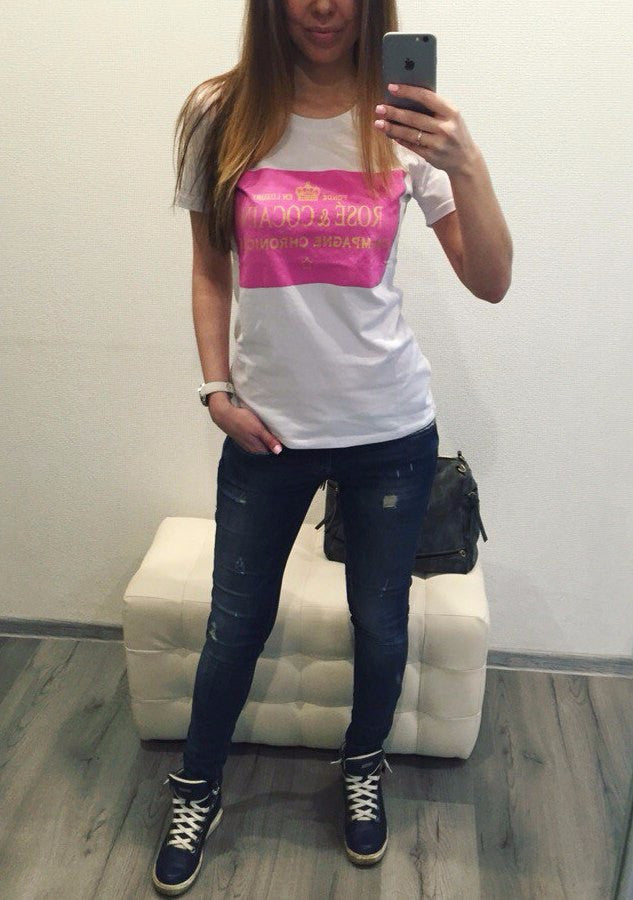 2016 Casual New t shirt women pink square printed t-shirt summer short sleeve plus size rock punk tee women woman tops - Gifts Leads