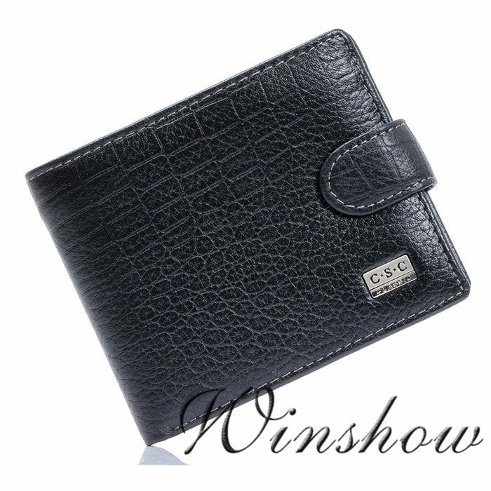 Mens Gentleman Black Real Genuine Leather Bifold Clutch Wallet