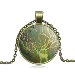 deer art picture Pendant Necklaces Fashion Glass Cabochon Bronze Accessories Statement chain Necklace Women Vintage Jewelry